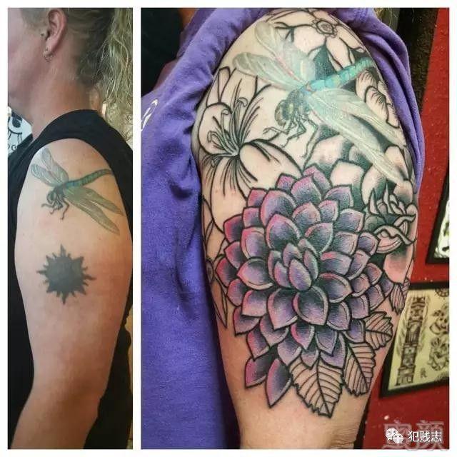 真花花纹身手稿素材